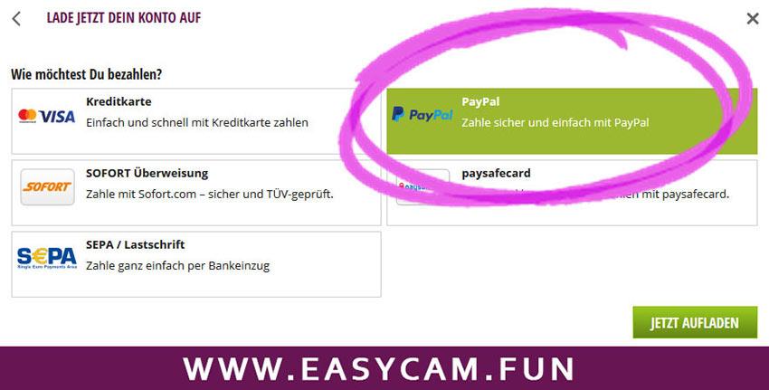 Sexcam mit Paypal bezahlen auf easycam.fun